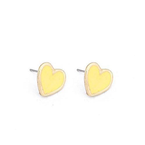 Heart Stud Yellow