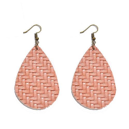 Braided Leather Soft Pink Teardrop