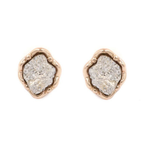 Gold Irregular Druzy Stud