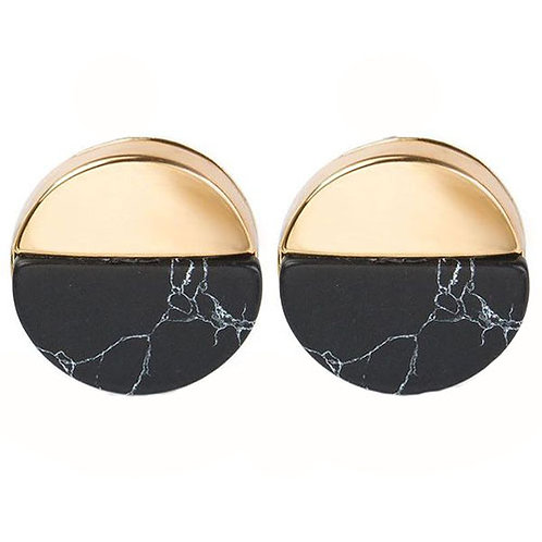 Round Gold Dipped Black Marble Studs
