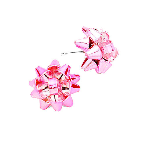 Pink Bow Studs
