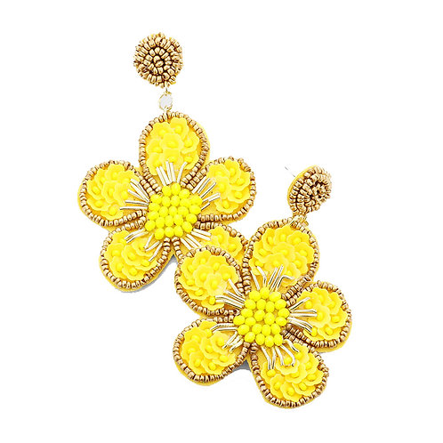 Floral Beaded - Yellow