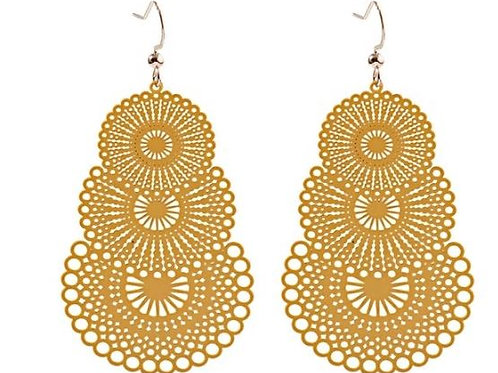 Triple Layered Metal Lace Discs - Mustard