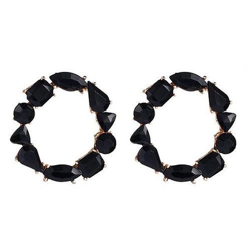 Gemstone Mini Hoop Black
