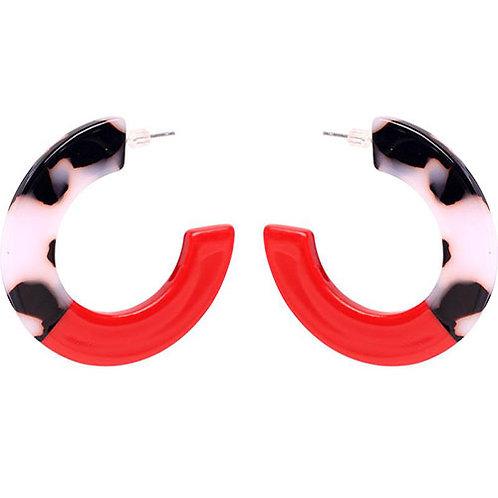 Tortoise + Red Mini Hoops