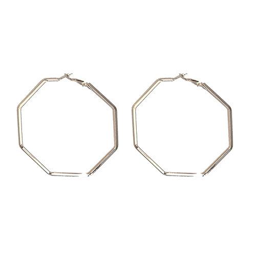 Rose Gold Hexagon Hoops