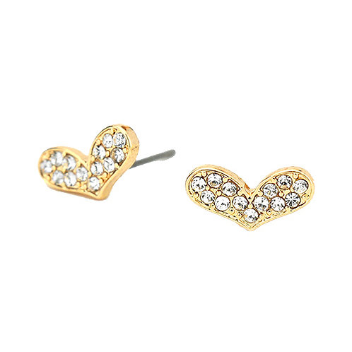 Oblong Gold Heart Studs
