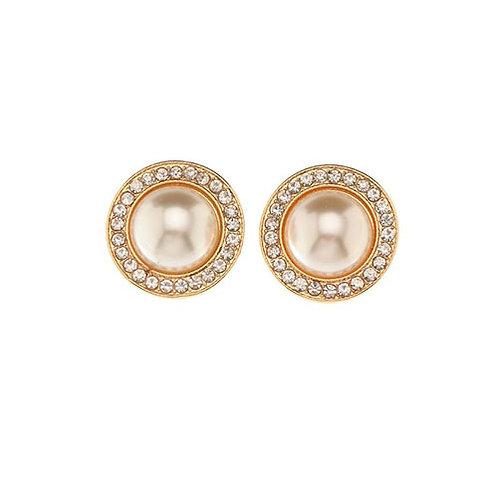 Circle Pearl + Crystal Studs