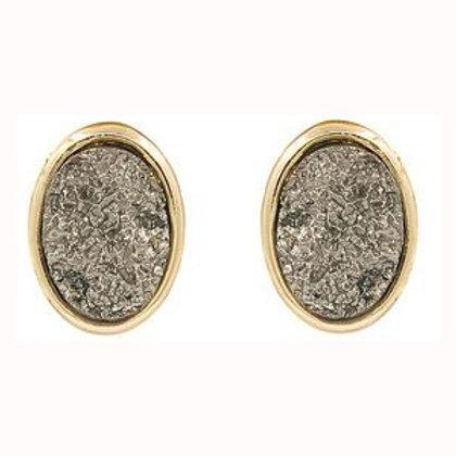 Oval Druzy Stone Graphite