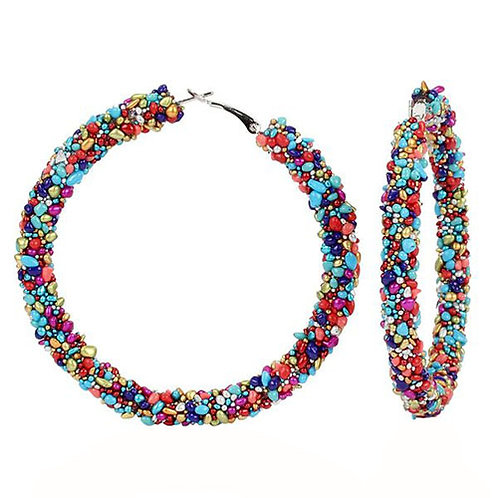Cobblestone Beaded Hoop Multicolor