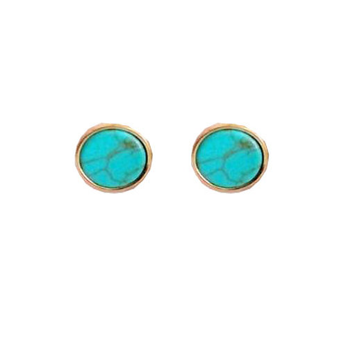 Round Teal Marble Studs