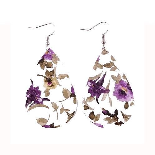 Teardrop White + Purple Florals