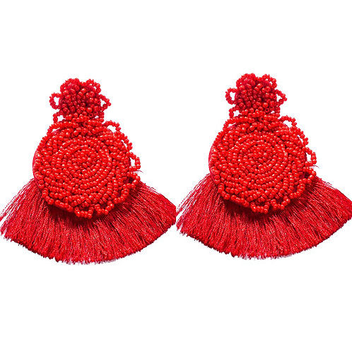 Lila Round Beaded Red with Fringe