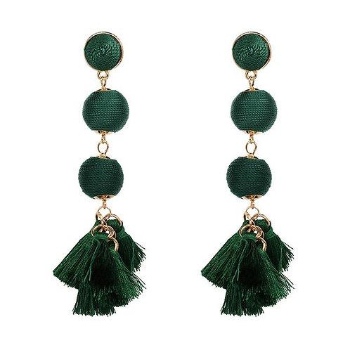 Dangle Ball Tassels Evergreen