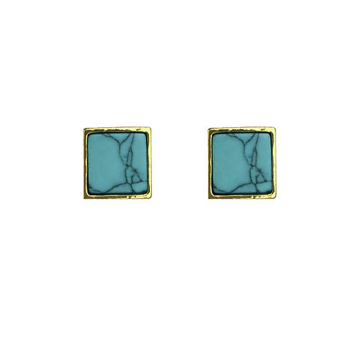 Gold Teal Square Marble Stud
