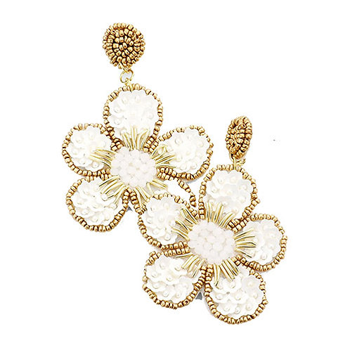 Floral Beaded - White