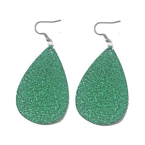 Green Glitter Teardrop