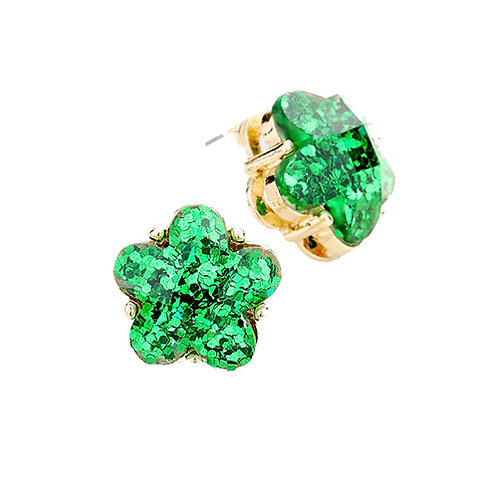 Green Floral Studs