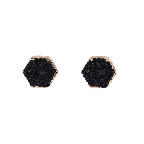 Hexagon Druzy Stone Black