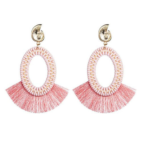 Seashell Pink Woven with Fringe