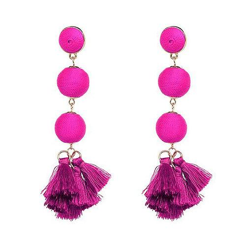 Dangle Ball Tassels Hot Pink