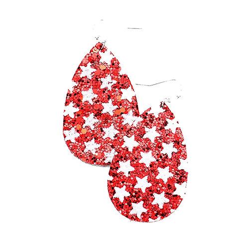 Red Glitter Star Teardrop