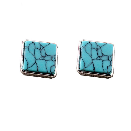 Silver Teal Square Marble Stud