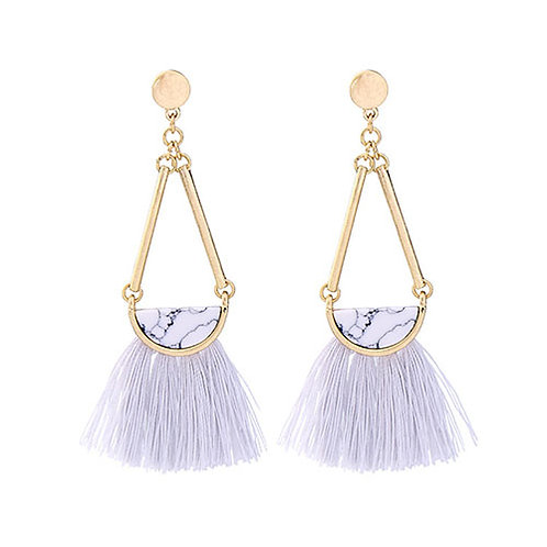 Metal Swing with White Marble + Light Gray Tassels