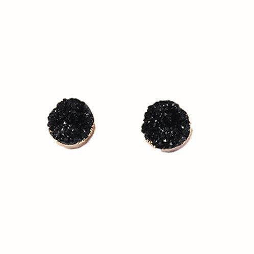 Round Druzy Stone Black