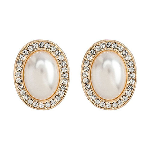 Oval Pearl + Crystal Studs