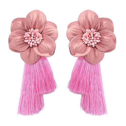 Flower + Pink Double Tassel