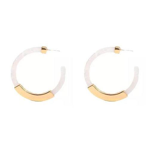 White + Gold Bar Celluloid Hoop