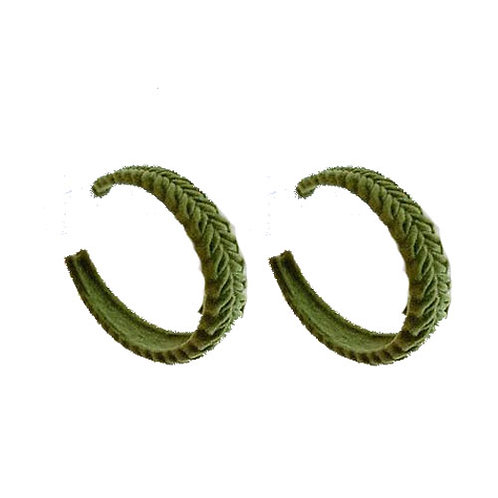 Velvet Braided Hoops - Macha Green