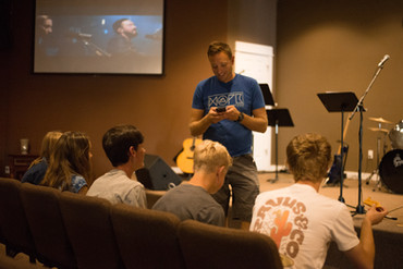 Pastor Hanging Out with Youth Group