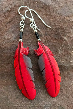 Cardinal Secondary Feather Earrings-Bone