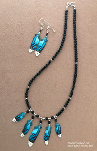 Five Feather on Onyx Necklace