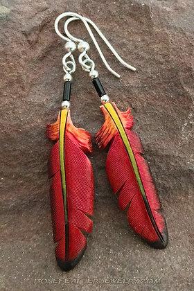 Ruby Topaz Hummingbird Bone Feather Jewelry
