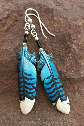 Blue Jay Tail Bone Feather Necklace