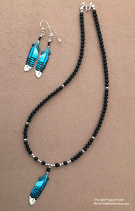 Single feather on Onyx Necklace