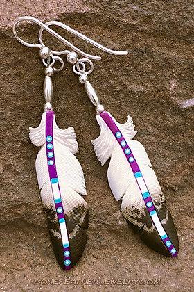 Golden Eagle Purple Bone Feather Jewelry
