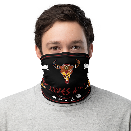 Red Lives Matter Buffalo Skull Neck Gaiter