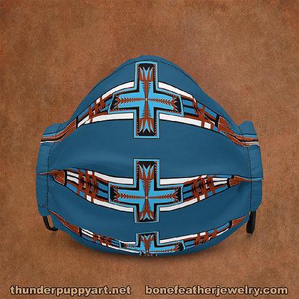 Geometric Cross Burgundy And Blue Premium face mask