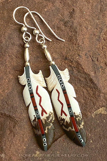 Golden Eagle Gray w-Lightning Bone Feather Jewelry