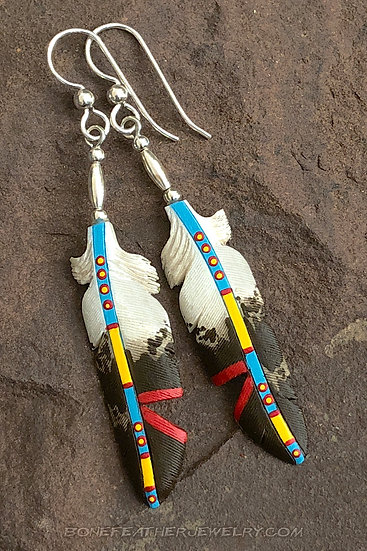 copy of Golden Eagle Turquoise w- Single Notch Bone Feather Jewelry