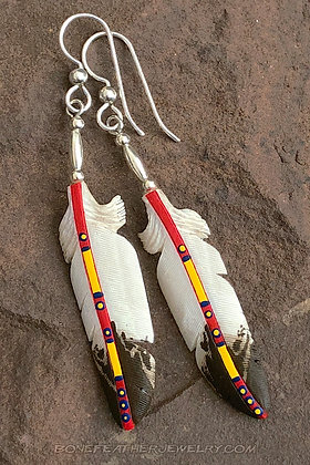 Golden Eagle Red Bone Feather Jewelry