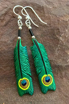 Peacock Tail Bone Feather Jewelry