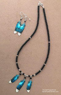 Three Feather on Onyx Necklace