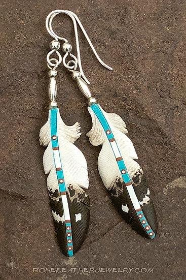 Golden Eagle Aqua Bone Feather Jewelry