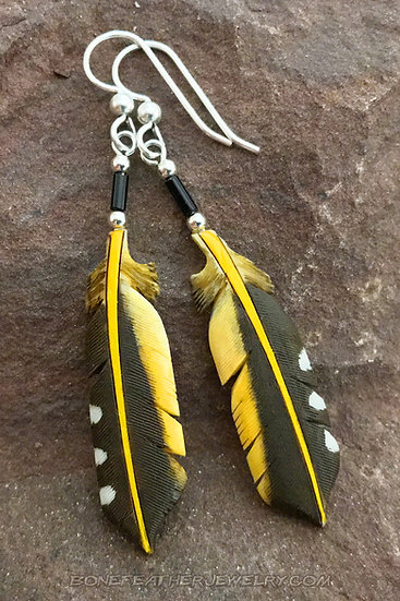 Yellow-Shafted Flicker Tail Bone Feather Jewelry