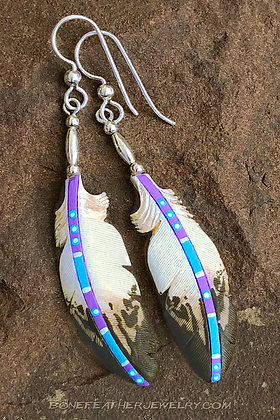 Golden Eagle Lavender Bone Feather Jewelry